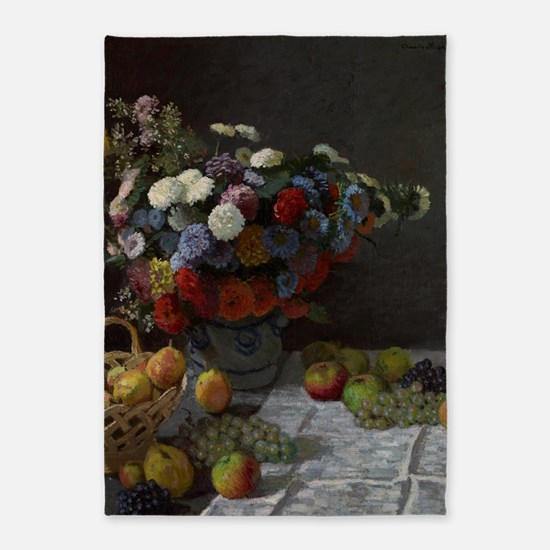 Claude Monet - Still Life with Flow 5'x7'Area Rug