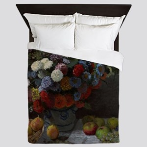 Claude Monet - Still Life with Flowers Queen Duvet