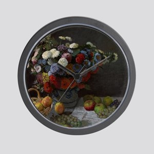 Claude Monet - Still Life with Flowers  Wall Clock