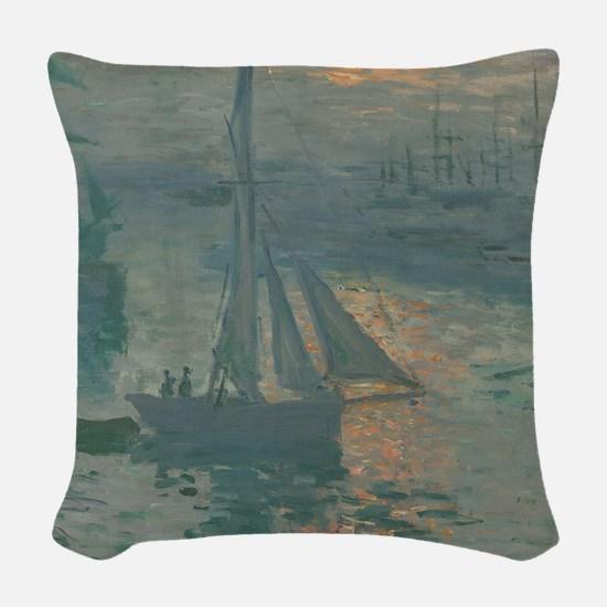 Claude Monet - Sunrise (Marine Woven Throw Pillow