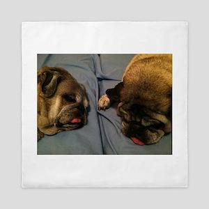Two sleepy pugs Queen Duvet