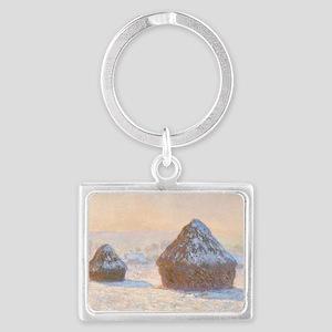 Claude Monet - Wheatstacks, Sno Landscape Keychain