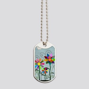 Whimsical Flowers Dog Tags