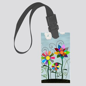 Whimsical Flowers Large Luggage Tag