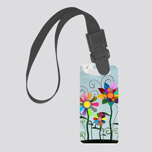 Whimsical Flowers Small Luggage Tag