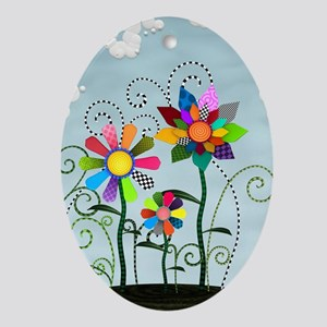 Whimsical Flowers Ornament (Oval)