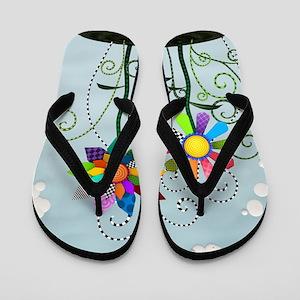 Whimsical Flowers Flip Flops