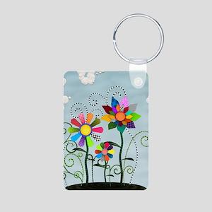 Whimsical Flowers Aluminum Photo Keychain