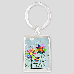 Whimsical Flowers Portrait Keychain
