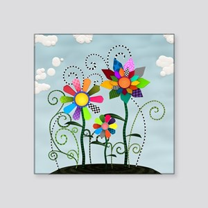 """Whimsical Flowers Square Sticker 3"""" x 3"""""""