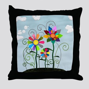 Whimsical Flowers Throw Pillow