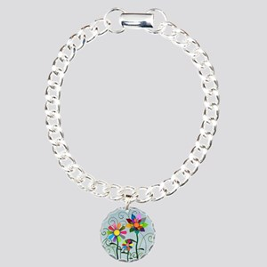 Whimsical Flowers Charm Bracelet, One Charm