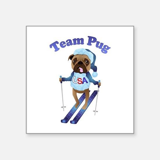 "Team Pug Skier - Olympugs Square Sticker 3"" x 3"""