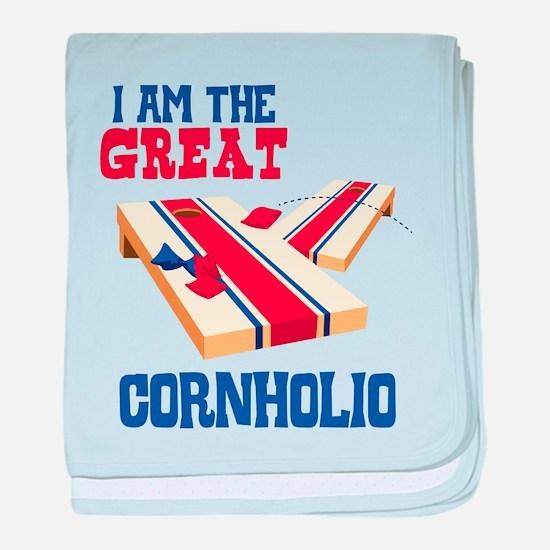 I AM THE GREAT CORNHOLIO baby blanket