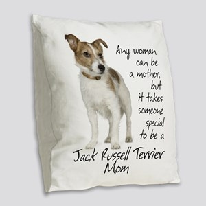Jack Russell Mom Burlap Throw Pillow