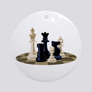 Chess Pieces Game Ornament (Round)