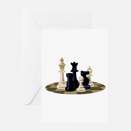 Chess Pieces Game Greeting Cards