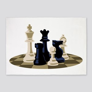 Chess Pieces Game 5'x7'Area Rug