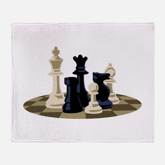 Chess Pieces Game Throw Blanket
