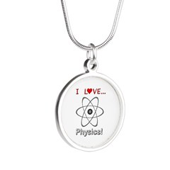 I Love Physics Silver Round Necklace