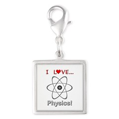 I Love Physics Silver Square Charm