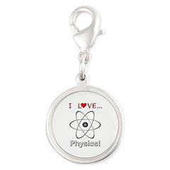 I Love Physics Silver Round Charm