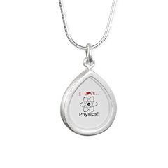 I Love Physics Silver Teardrop Necklace