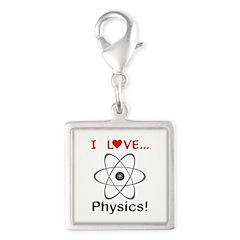 I Love Physics Silver Square Charm