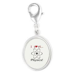 I Love Physics Silver Oval Charm