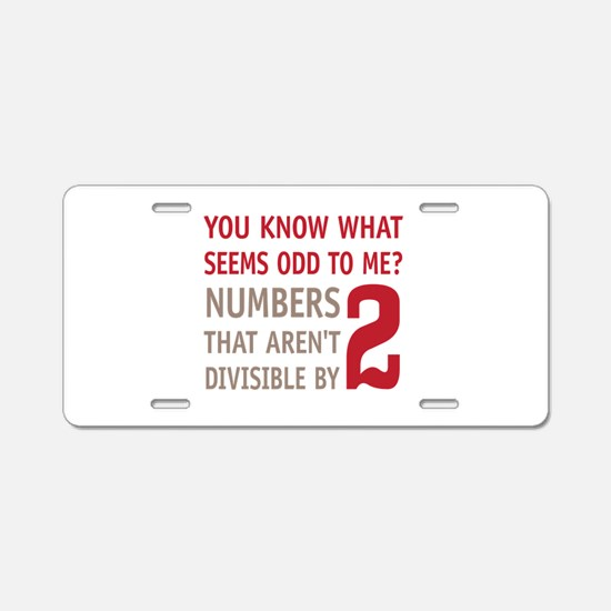 Odd Even Numbers Aluminum License Plate