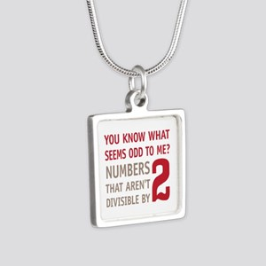 Odd Even Numbers Silver Square Necklace