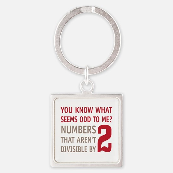 Odd Even Numbers Square Keychain