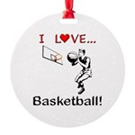 I Love Basketball Round Ornament