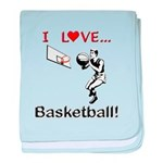 I Love Basketball baby blanket