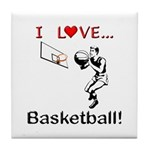 I Love Basketball Tile Coaster