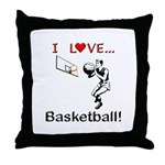 I Love Basketball Throw Pillow