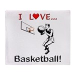 I Love Basketball Throw Blanket