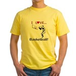 I Love Basketball Yellow T-Shirt