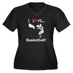 I Love Baske Women's Plus Size V-Neck Dark T-Shirt