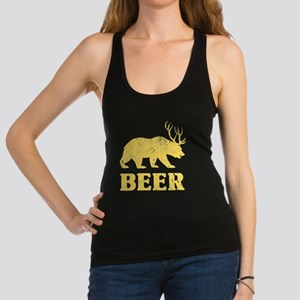 Vintage Yellow Bear+Deer=Beer Racerback Tank Top