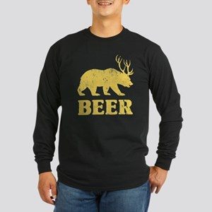 Vintage Yellow Bear+Deer=Beer Long Sleeve T-Shirt