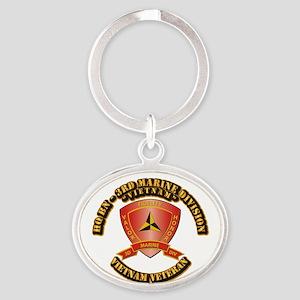 USMC - HQ Bn - 3rd Marine Division VN Oval Keychai