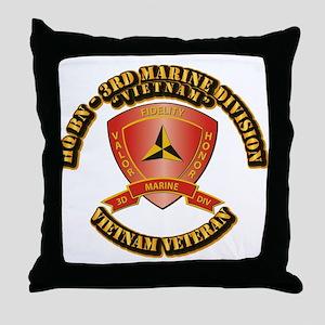 USMC - HQ Bn - 3rd Marine Division VN Throw Pillow