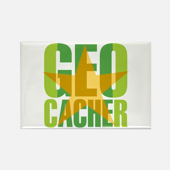 Star Geocacher Green Rectangle Magnet