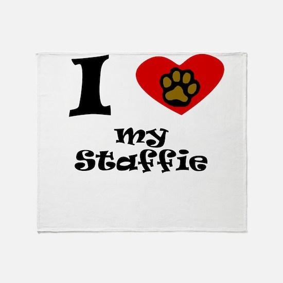 I Heart My Staffie Throw Blanket