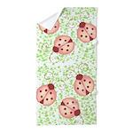 Pink Ladybugs Beach Towel