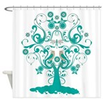 Love Bird Tree Shower Curtain