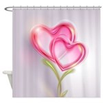 Pink Hearts Growing Love Shower Curtain