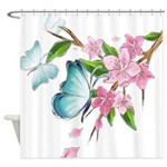 Butterflies And Pink Blossoms Shower Curtain