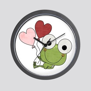 Frog With Heart Balloons Wall Clock